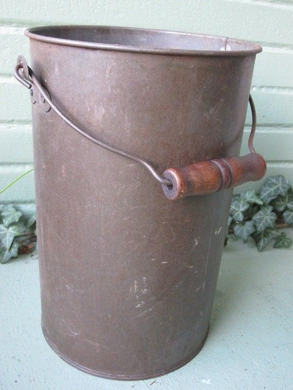 Cylindrical Industrial Metal Bucket with Wood Handle