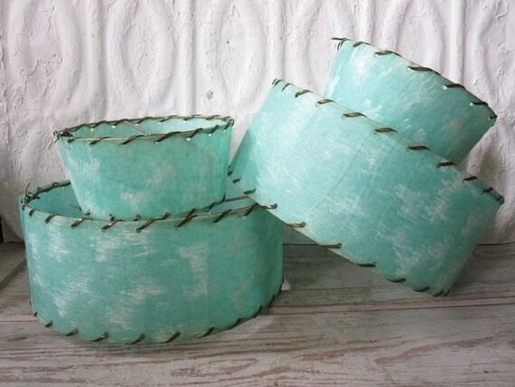 Pair Turquoise Fiberglass Lampshades