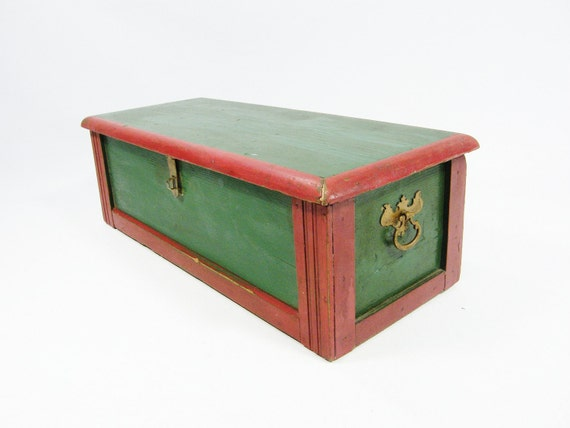 Reserved for Jan-Antique Wooden Storage Box