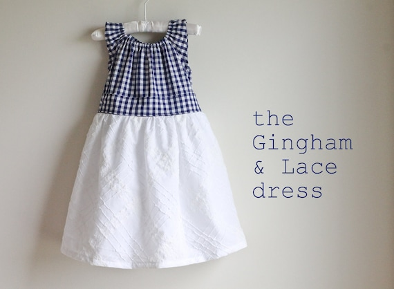 Gingham & Lace embroidered cotton special ocassion or flower girl dress - Size 6m, 12m, 18m, 2T, 3T, 4T, 5, 6