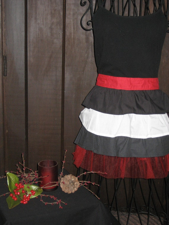 Red Black and White Ladies Hostess Apron     item 824