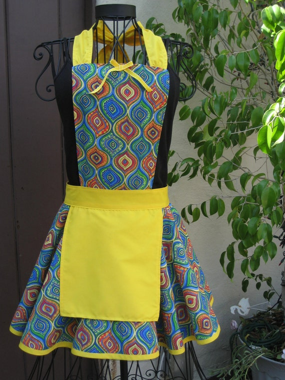 Bright Yellow Retro with Yellow Pinafore Ladies Fancy Hostess Apron Small