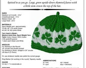 Hand Knitting Pattern, Shamrocks Hat Knitting Pattern PDF, Original Design, Row by Row Directions, Charts Included, Instant Download PDF