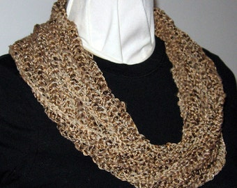 Hand Knit Cowl, Mobius Infinity Cowl, Cotton Microfiber Blend Yarn, Beiges and Taupe, Irridescent Coppery Sequins, Handmade, Gift, Elegant