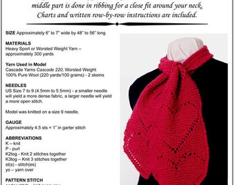 Hand Knit Pattern, Lace Hearts Scarf, Knitting Pattern pdf, Written Instructions, Charts, Easy to Knit, Instant Download, Trish Designs