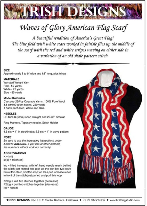 Knitting Pattern, Hand Knit Scarf, Waves of Glory, American Flag Scarf, Pattern PDF, Written Row by Row, Charted, Digital Download, Original