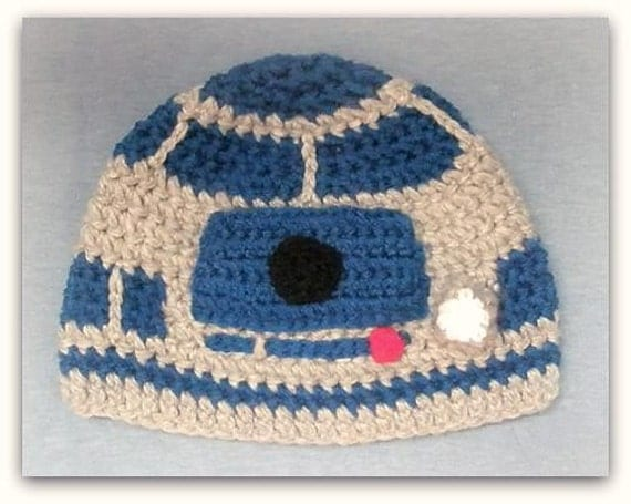 Knitting Pattern For R2d2 Hat : Items similar to Grey robot beanie hat inspired by R2D2 Please provide size. ...