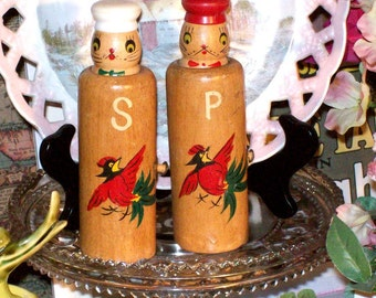 Pop Up Salty and Peppy Salt and Pepper Shaker Set Wood Painted