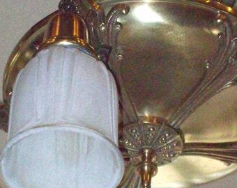 Vintage 5 Light Brass Ceiling Fixture Light