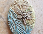 Artisan Crafted Pendant/Focal Bead Sage, Mustard Green, Turquoise Fairy