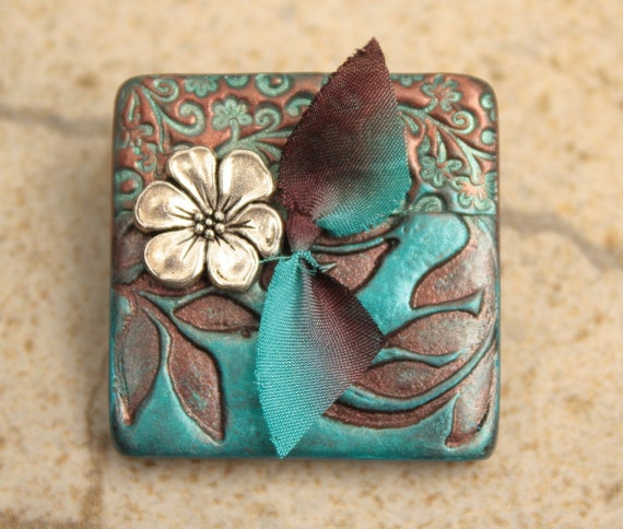Mixed Media Brooch Floral Pin Floral Brooch Turquoise Chocolate Brown Silver Antique Copper