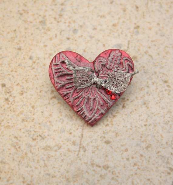Artisan Crafted Heart Pin Mixed Media Silver Red Heart Brooch SALE