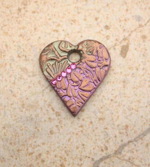 Artisan Heart Pendant Plum Hot Pink Bronze Olive Green Heart Focal Bead
