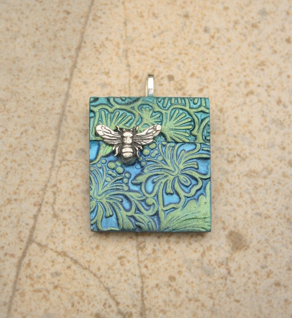 Handcrafted Bee Pendant Silver Cobalt Blue Turquoise Green Hibiscus Pendant