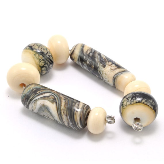 Ivory Cylindricals Lampwork Beads