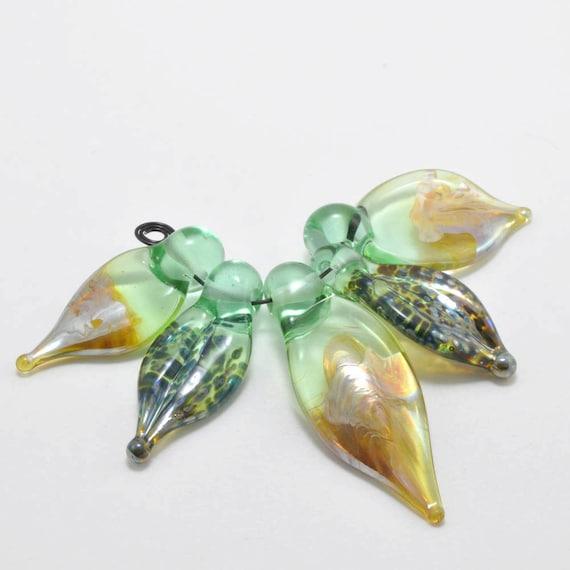 Spring Green Leaves : Handmade Glass Beads