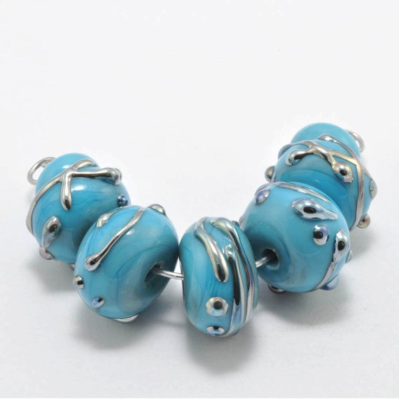 Turquoise Drizzles : Handmade Lampwork Beads (3/32)