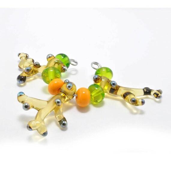 Citrus Coral Drops : Glass Lampwork Beads