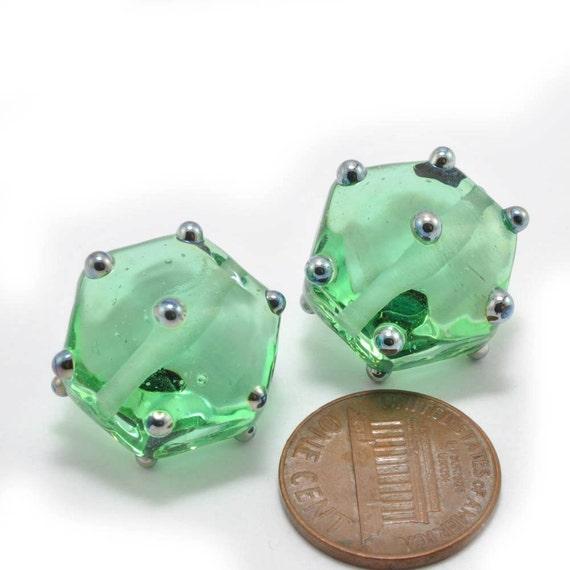 Green Gems - Glass Lampwork Beads