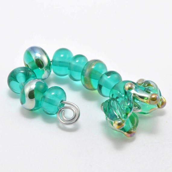 Teal Flower and Spacers : Handmade Lampwork Beads