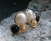 Onyx and Freshwater Pearl Gold Filled Wire Wrapped Earrings
