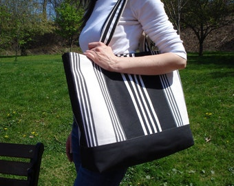 Beach Bag. Tote. Large Tote. Weekender. Travel Tote.  Black Ivory & White Stripe  MADE TO ORDER