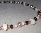 10% off Sale - Pink and Cream Coral Necklace