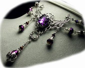Amethyst Purple Crystal Silver Drop Necklace Steampunk Jewellery Antique Vintage Victorian Bridal Style