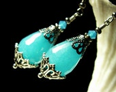 Peacock Aqua Blue Jade Earrings Antiqued Silver Vintage Victorian Bridal Style Steampunk Jewellery