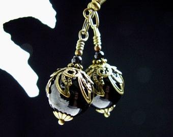 Steampunk Earrings Polished Jet Black Onyx Gemstone Antiqued Bronze Filigree Titanic Temptations Vintage Victorian Bridal Style 11025
