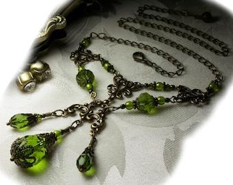 Lime Green Bronze Victorian Wedding Necklace, Steampunk Titanic, Peridot Olive Green Drop Edwardian Bridal Choker, Titanic Temptations 11013