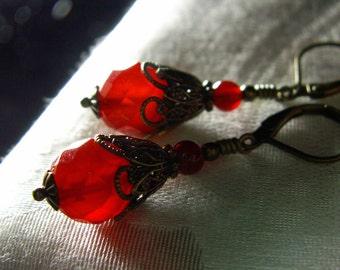 Genuine Carnelian Orange Drop Crystal Victorian Earrings, Antiqued Brass Filigree Titanic Temptations Vintage Steampunk Bridal Style Jewelry
