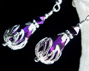 Metallic Amethyst Purple Victorian Bridal Earrings, Violet Crystal Steampunk Drops, Antiqued Silver Filigree, Titanic Temptations Jewelry