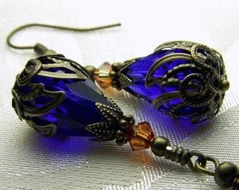 Royal Blue Victorian Earrings Champagne Gold Crystal Drops Antique Brass Filigree Titanic Temptations Vintage Steampunk Bridal Style Jewelry
