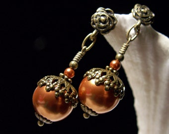 Acorn Victorian Earrings, Copper Brown Crystal Pearl Steampunk Drops Antique Brass Filigree Titanic Temptations Vintage Bridal Style Jewelry