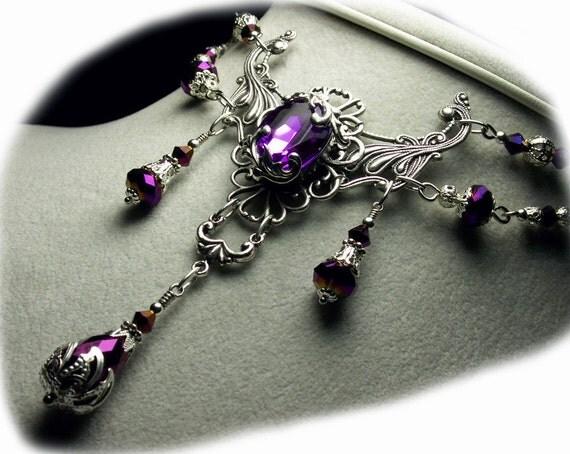 Amethyst Purple Crystal Silver Drop Necklace Steampunk Jewellery Antique Vintage Victorian Bridal Style