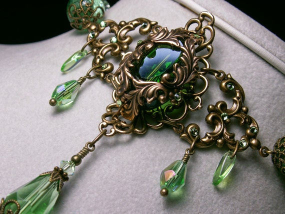Forest Green Crystal Choker Necklace Steampunk Jewellery Vintage Victorian Bridal Style