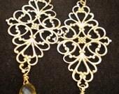 Ornate Faceted Citrine Chandelier Earrings