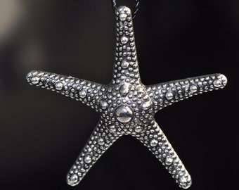 37x6mm Delicate -SILVER PEWTER Starfish Pendant - N0558E