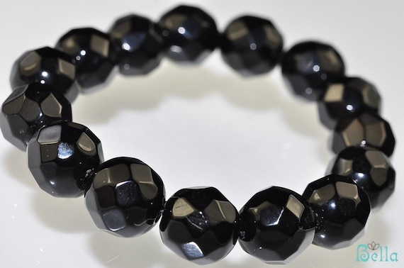 15-8mm BLACK ONYX Faceted Round Beads Pendant H0237E - Sale