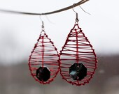Vivid Red Leaf Earrings