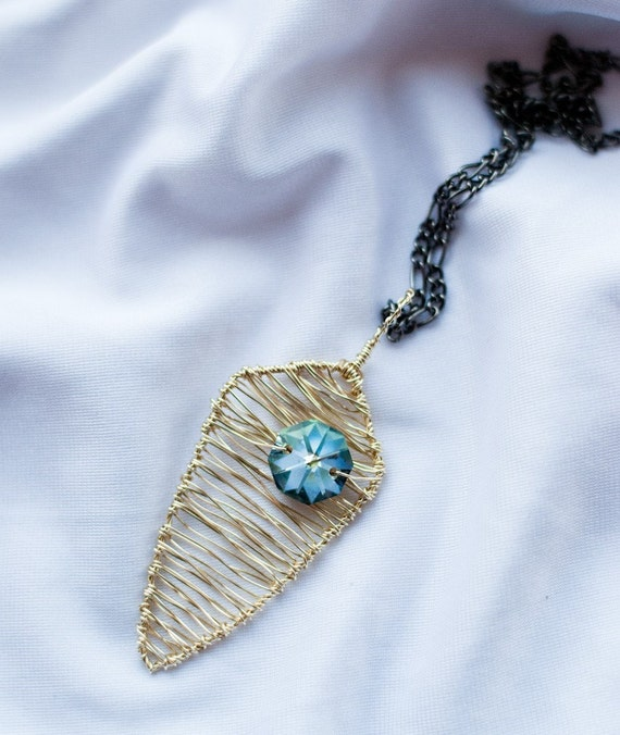 Spear Necklace Pendant in Champagne and Blue Green