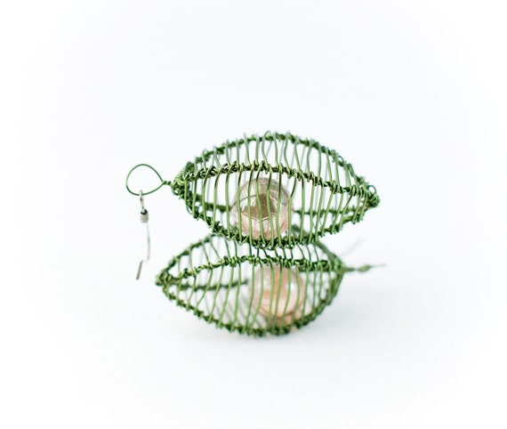 Cage Earrings in Dark Leaf Green and Salmon Pink