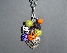 Halloween-Orange, Black, White, Green, Purple - Bead Charm Cluster