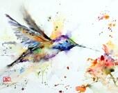 HUMMINGBIRD and FLOWER Watercolor Bird Print, Hummingbird Painting, Bird Art