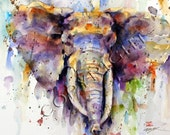 ELEPHANT Watercolor Print by Dean Crouser