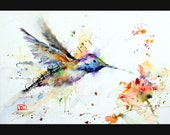 HUMMINGBIRD and FLOWER Watercolor Print by Dean Crouser