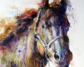 HORSE Watercolor Animal Art Print By Dean Crouser