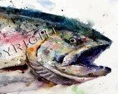 WILD SALMON Watercolor Print by Dean Crouser