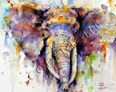 ELEPHANT Large Watercolor Print by Dean Crouser